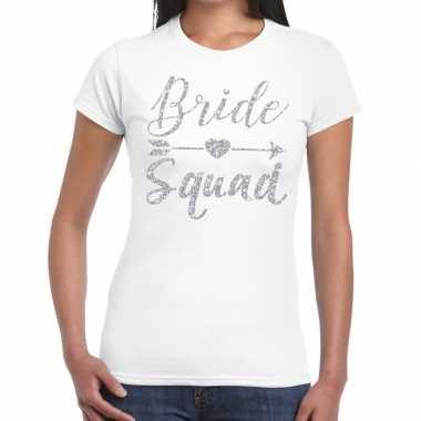 Feestwinkel | vrijgezellenfeest bride squad zilveren letters t-shirt