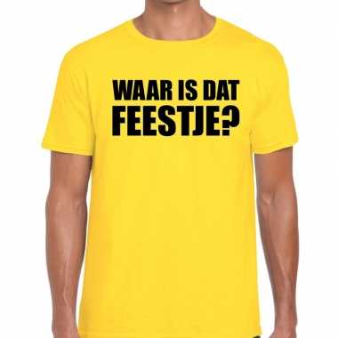 Feestwinkel   waar is dat feestje? fun t-shirt geel voor heren morgen