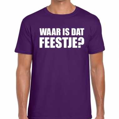 Feestwinkel | waar is dat feestje? fun t-shirt paars voor heren morge