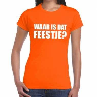 Feestwinkel   waar is dat feestje fun t-shirt voor dames oranje morge