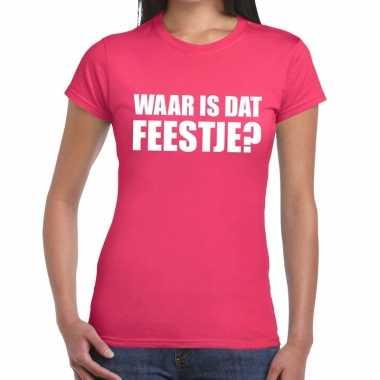 Feestwinkel   waar is dat feestje fun t-shirt voor dames roze morgen