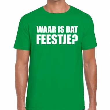Feestwinkel   waar is dat feestje fun t-shirt voor heren groen morgen