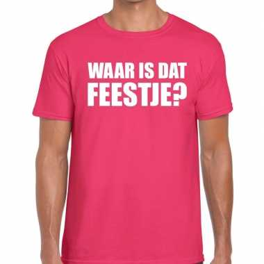 Feestwinkel | waar is dat feestje fun t-shirt voor heren roze morgen