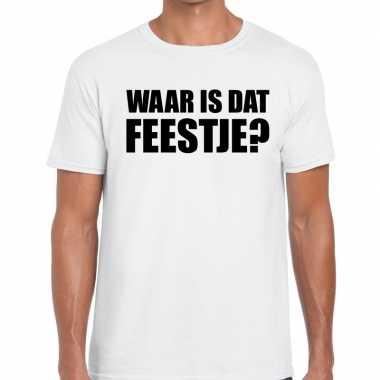 Feestwinkel | waar is dat feestje fun t-shirt voor heren wit morgen a