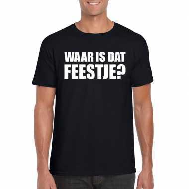 Feestwinkel | waar is dat feestje fun t-shirt voor heren zwart morgen
