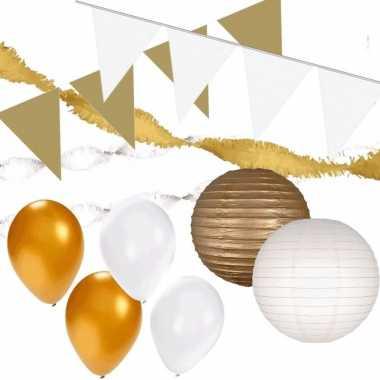 Feestwinkel | wit en goud feestartikelen decoratie pakket huiskamer m