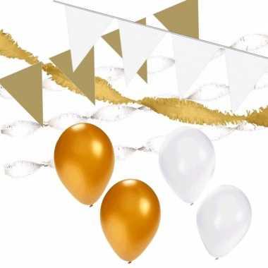 Feestwinkel | wit en goud feestartikelen decoratie pakket xl morgen a