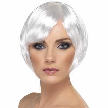 Witte bob damespruik