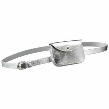 Zilver mini heuptasje aan riem voor dames