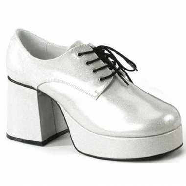 Zilveren blokhak schoenen voor heren