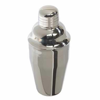 Feestwinkel | zilverkleurige rvs drankjes cocktailshaker 300 ml morge
