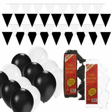 Feestwinkel | zwart en wit feestartikelen decoratie pakket huiskamer