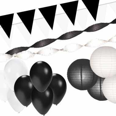 Feestwinkel   zwart en wit feestartikelen decoratie pakket xxl morgen