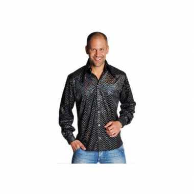 Zwart glitter overhemd heren