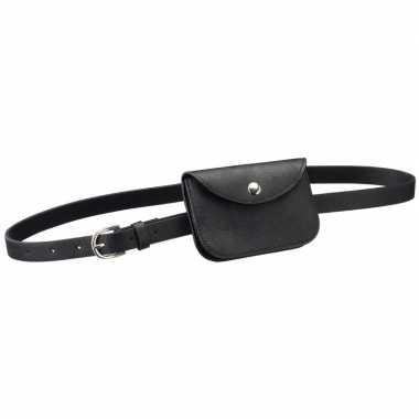 Zwart mini heuptasje aan riem voor dames