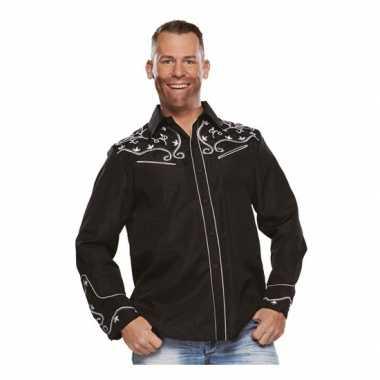 Zwarte cowboy blouse voor heren