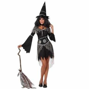Feestwinkel | zwarte heksenjurk met hoed voor dames morgen amsterdam
