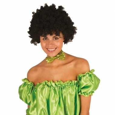 Feestwinkel | zwarte krullen clownspruik verkleed accessoire morgen a