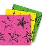 12x felgekleurde feest servetten 33 x 33 cm kinderverjaardag
