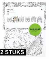 12x maskers om in te kleuren voor kinderen