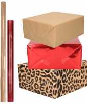 12x rollen kraft inpakpapier pakket dierenprint metallic rood en bruin 200 x 70 50
