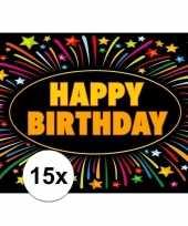15x verjaardagskaart happy birthday 21 x 14 8 cm