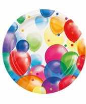 16x feestelijke wegwerpbordjes met ballonnenopdruk karton 23cm