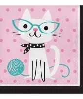 16x katten feest servetjes