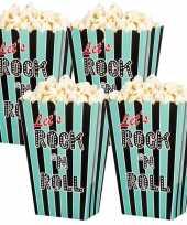 16x rock n roll popcornbakjes snoepbakjes 13 cm