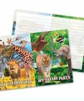 16x safari jungle feest thema uitnodigingen 27 cm