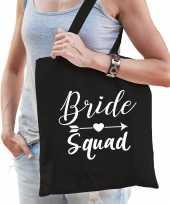 1x bride squad vrijgezellenfeest tasje zwart dames