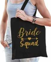 1x bride squad vrijgezellenfeest tasje zwart goud dames