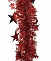 1x kerst lametta guirlande rood sterren glinsterend 10 x 270 cm kerstboom versiering decoratie