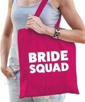 1x vrijgezellen bride squad tasje roze dikke letters dames