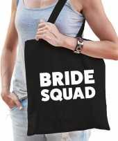 1x vrijgezellen bride squad tasje zwart dikke letters dames