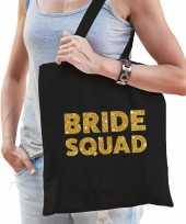 1x vrijgezellen bride squad tasje zwart goud dikke letters dames
