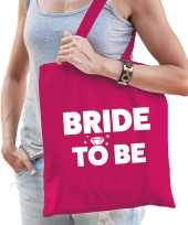 1x vrijgezellen bride to be tasje roze dikke letters dames