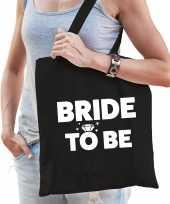 1x vrijgezellen bride to be tasje zwart dikke letters dames