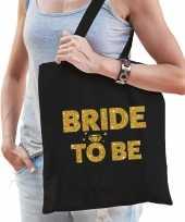 1x vrijgezellen bride to be tasje zwart goud dikke letters dames