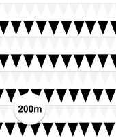 200 meter zwart witte buitenvlaggetjes