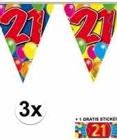 21 jaar vlaggenlijnen 3x met gratis sticker