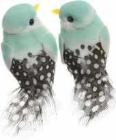 2x decoratie vogeltje licht mintgroen 6 cm op ijzerdraad met echte veren
