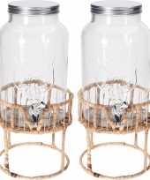 2x glazen drankdispensers met rieten houder 5 5 liter