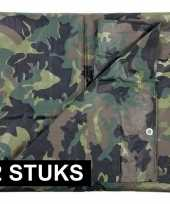 2x groene camouflage afdekzeilen dekkleed 2 85 x 4 m