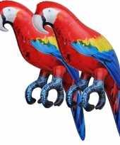 2x opblaas ara papegaai vogel dieren 25 cm realistische print
