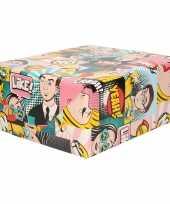 2x rol inpakpapier gekleurd met comic book stripverhaal thema 200 x 70 cm