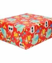 2x rol kinderverjaardag inpakpapier met olifanten en poezen 200 x 70 cm