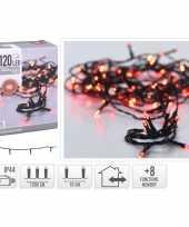 2x stuks feestverlichting lichtsnoeren met rode led lampjes lichtjes 12 meter