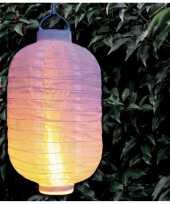 2x stuks solar buitenlampion buitenlampionnen wit met realistisch vlameffect 20 x 30 cm