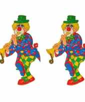 2x stuks wanddecoratie carnaval clown 70 cm